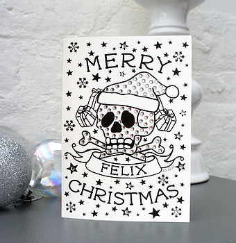 Personalised Skull Christmas Card