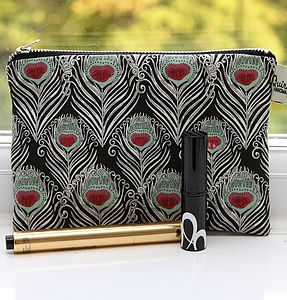 Liberty Peacock Feather Cosmetic Bag - make-up & wash bags