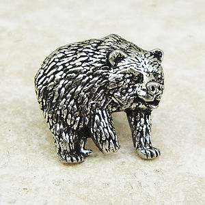 Bear Tie Pin Antiqued Pewter - ties & tie clips
