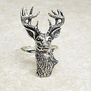 Wild Stag Ring Antiqued Pewter