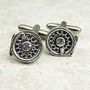 Fly Fishing Reel Cufflinks Antiqued Pewter