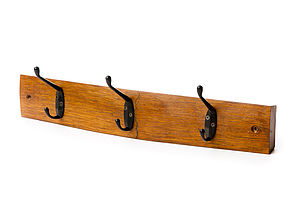 Barrel Stave Coat Rack - hooks, pegs & clips