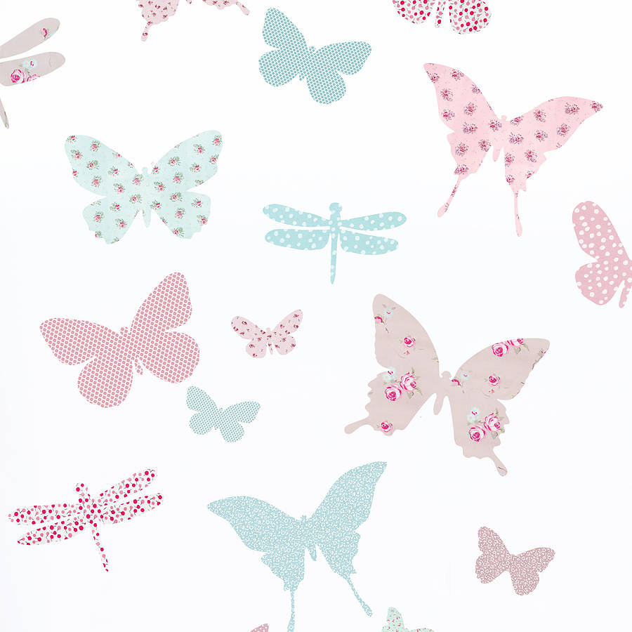 Vintage floral butterfly fabric wall stickers by koko kids for Fabrics for children s rooms