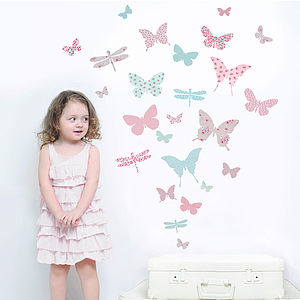 Children's Butterfly Fabric Wall Stickers - bedroom