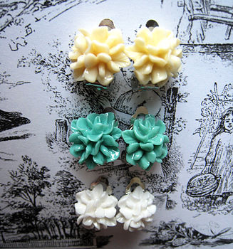 Clip On Floral Amelie Stud Earrings