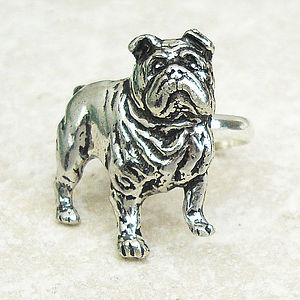 Bulldog Ring Antiqued Pewter - women's jewellery