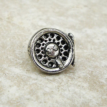 Fly Fishing Reel Tie Pin Antiqued Pewter