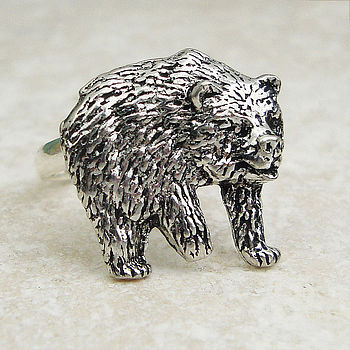 Wild Bear Ring Antiqued Pewter