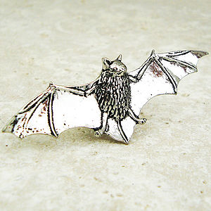 Bat Tie Pin Antiqued Pewter - men's jewellery