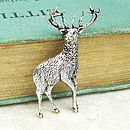 Standing Stag Tie Pin Antiqued Pewter