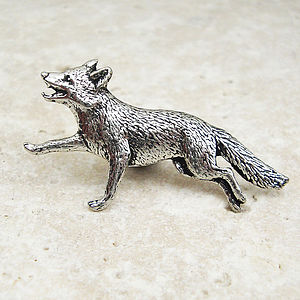 Wild Fox Tie Pin Antiqued Pewter - men's accessories