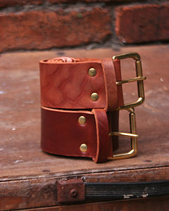 Leather 'Kane' Veg Tan Wide Leather Belt - belts