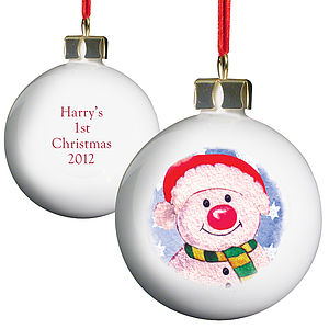 Childrens Personalised China Christmas Bauble