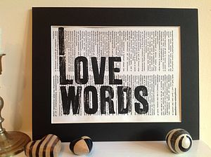 'I Love Words' Upcycled Print - prints & art