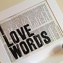 'I Love Words' Upcycled Print