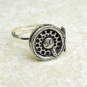 Fly Fishing Reel Ring Antiqued Pewter - rings