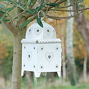 Heart Pierced Metal Lantern (white)