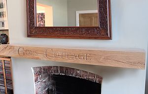 Carved Oak Mantle - fireplace accessories