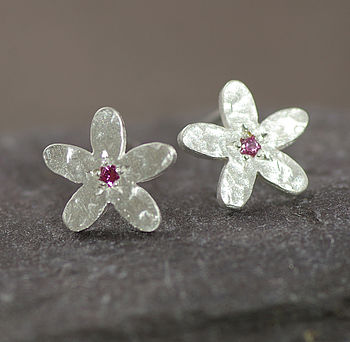 Silver And Pink Sapphire Earrings
