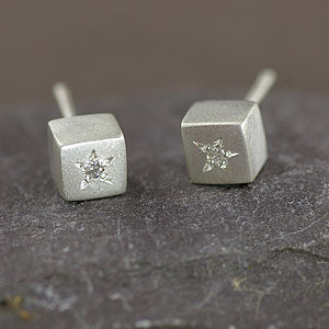 Silver Studs Set With Diamonds - earrings