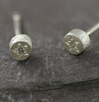 Silver And Diamond Textured Earrings
