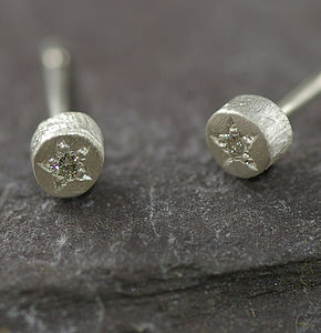 Silver And Diamond Textured Earrings - earrings