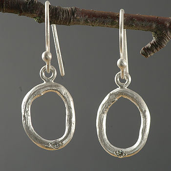 Silver Oval Shaped Diamond Earrings