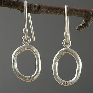 Silver Oval Shaped Diamond Earrings - earrings