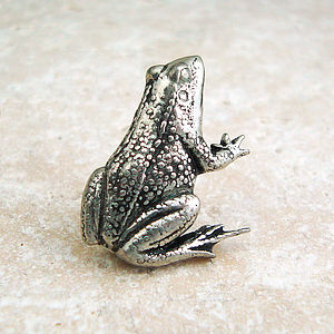 Frog Tie Pin Antiqued Pewter - tie pins & clips