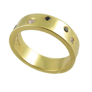 Night and Day Large 18k Gold Diamonds Band - rings