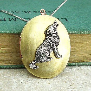 Wolf Locket Necklace Pewter & Brass Pendant