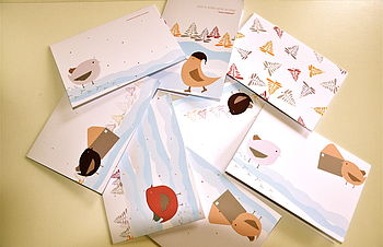 Set Of Eight Birds And Bows Christmas Cards