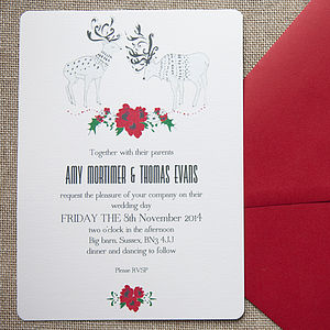 Wintry Reindeer Wedding Stationery - christmas wedding styling