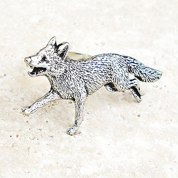 Wild Fox Ring Antiqued Pewter