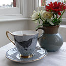 Light Blue Melody Rose Bird and Nest Vintage Teacup