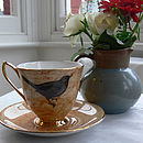 Amber Melody Rose Bird and Nest Vintage Teacup