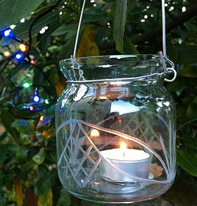 Etched Glass Hanging Votives - christmas lighting