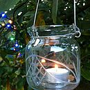 Etched Glass Hanging Votives