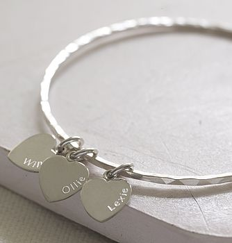 Personalised Silver Hearts Bangle
