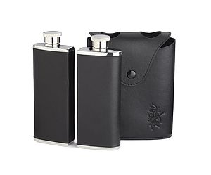 Twin Hip Flask Set Leather Bound Slimline Flasks - hip flasks