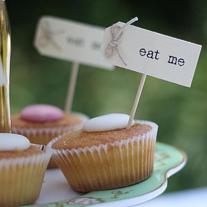 'Eat Me', 'I Do' Or 'Drink Me' Tags - cake toppers & decorations