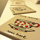 Coaster with red polka dots