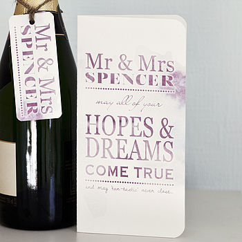 Personalised Wedding Card And Tag