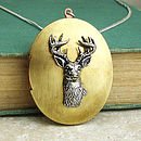 Stag Locket Necklace Pewter & Brass Pendant