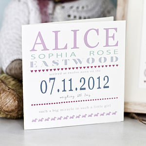 Personalised New Baby Card - view all gifts for babies & children
