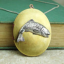 Trout Locket Necklace Pewter & Brass Pendant