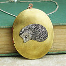 Hedgehog Locket Necklace Pewter Brass Pendant