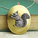 Squirrel Locket Necklace Pewter Brass Pendant
