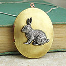 Rabbit Locket Necklace Pewter & Brass Pendant