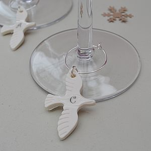 Wedding Glass Charm With Initial - table decorations